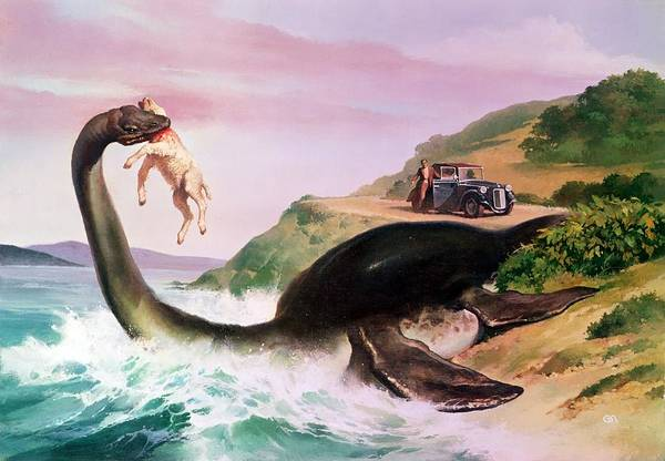 Flippers; Sheep; Car; Landscape; Lake; Waves; Sightseeing; Nessie; Superstition; Legend; Folklore Print featuring the painting The Loch Ness Monster by Gino DAchille