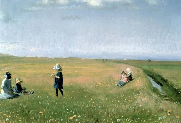 Children Print featuring the painting Young Girls Picking Flowers In A Meadow by Michael Peter Ancher