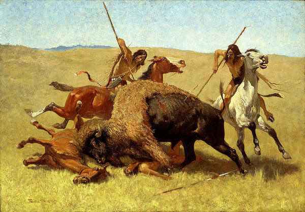 Frederic Remington Print featuring the painting The Buffalo Hunt by Frederic Remington