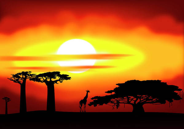 Africa Print featuring the digital art Africa Sunset by Michal Boubin
