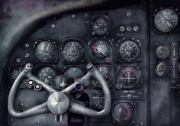 Suburbanscenes Print featuring the photograph Air - The Cockpit by Mike Savad