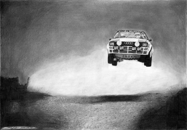 Audi Quattro Print featuring the drawing Audi Quattro Flying by Gabor Vida