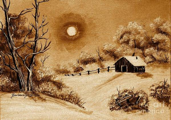 Autumn Snow Print featuring the painting Autumn Snow by Barbara Griffin