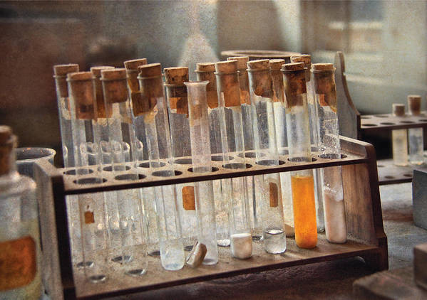 Vials Print featuring the photograph Chemist - Specimen by Mike Savad