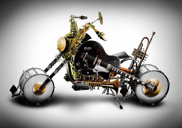 Bike Print featuring the digital art Custom Band by Alessandro Della Pietra