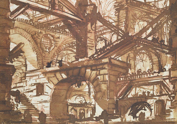 Gaol; Jail; Carceri D'invezione; Fictive; Fantastic; Vaulted; Multi Storey; Interior Print featuring the drawing Drawing Of An Imaginary Prison by Giovanni Battista Piranesi