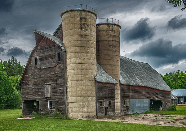 Old Barn Print featuring the photograph Dual Silos by Paul Freidlund