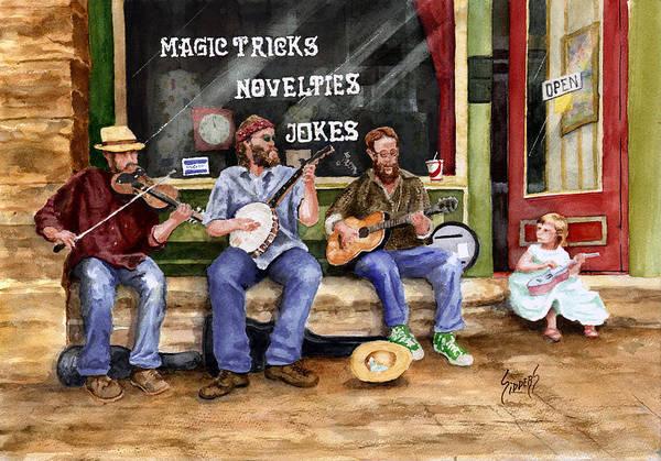 Banjo Print featuring the painting Eureka Springs Novelty Shop String Quartet by Sam Sidders