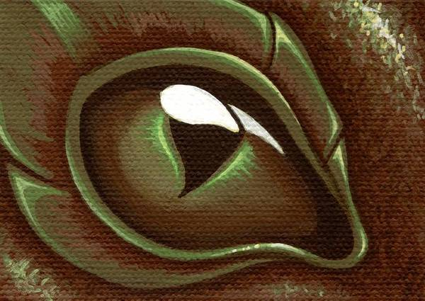 Brown Dragon Print featuring the painting Eye Of The Forest Dragon Hatchling by Elaina Wagner