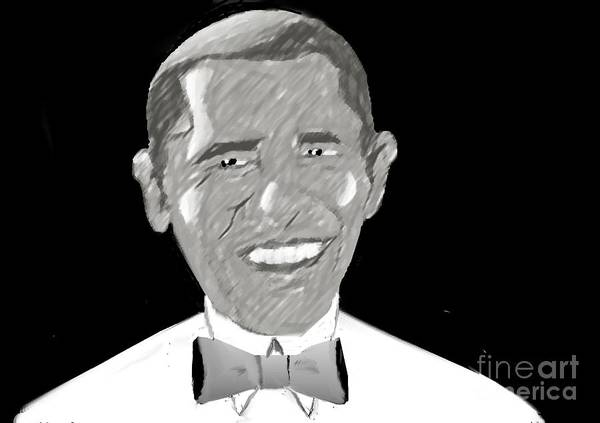 Barack Obama Print featuring the drawing First African American President by Belinda Threeths