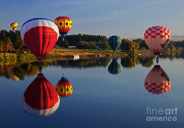 Balloons Print featuring the photograph Five Aloft by Mike Dawson