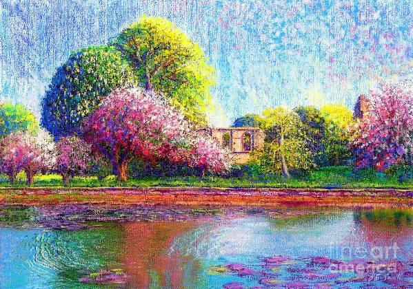 Spring Print featuring the painting Glastonbury Abbey Lily Pool by Jane Small