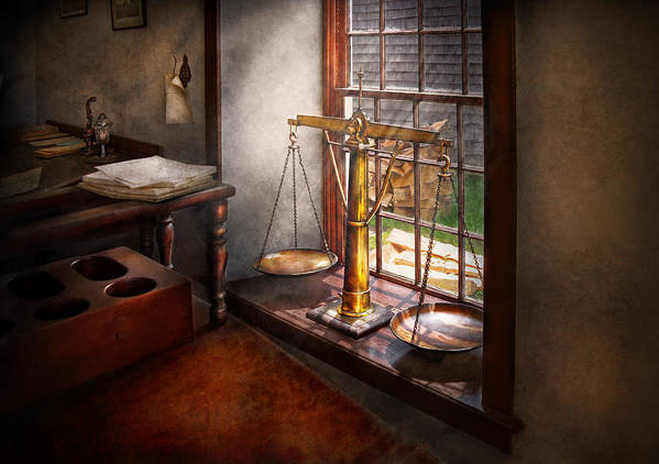 Hdr Print featuring the photograph Lawyer - Scales Of Justice by Mike Savad
