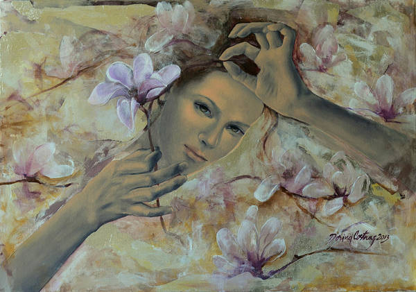 Art Print featuring the painting Magnolias by Dorina Costras
