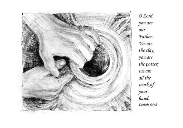 Pen And Ink Drawing Print featuring the drawing Potter And Clay by Janet King