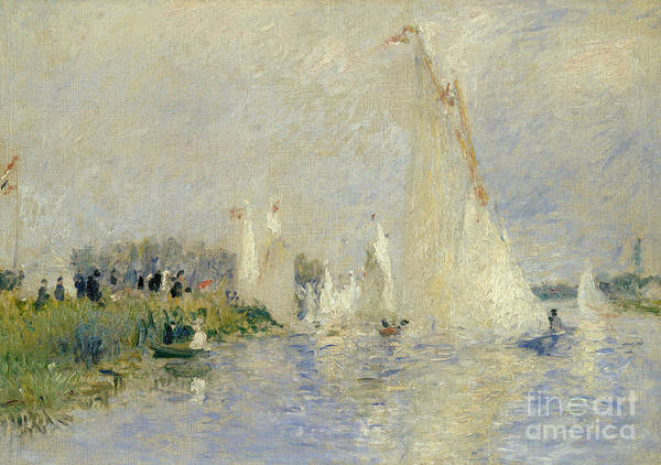 River; Impressionist; Boat; Leisure; Summer; France; Sailing Print featuring the painting Regatta At Argenteuil by Pierre Auguste Renoir