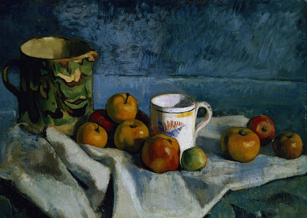 Jug Print featuring the painting Still Life With Apples Cup And Pitcher by Paul Cezanne