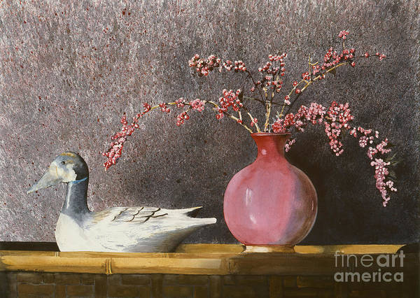 A Wood Carved Duck Rest On A Wicker Coffee Table Near A Hand-thrown Pot Filled With Buck Brush In The Sunlight Of A Sunday Afternoon. Print featuring the painting Sunday Afternoon by Monte Toon