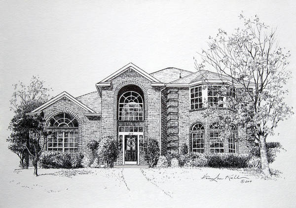 Homes Print featuring the drawing Texas Home 2 by Hanne Lore Koehler
