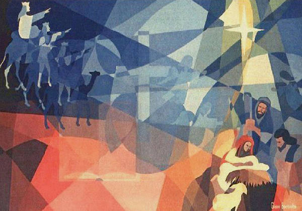 Nativity Scene Print featuring the painting The Event 1965 by Glenn Bautista