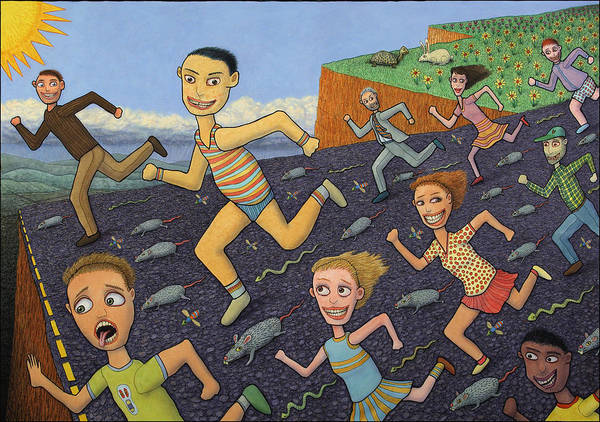 Running Print featuring the painting The Finish Line by James W Johnson