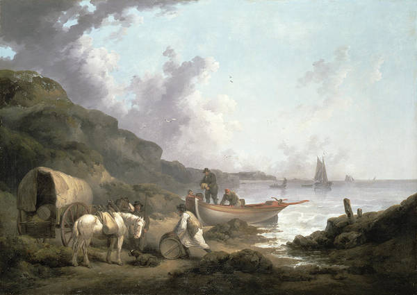 Horse And Cart Print featuring the painting The Smugglers, 1792 by George Morland