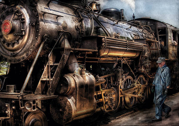 Savad Print featuring the photograph Train - Engine - Now Boarding by Mike Savad