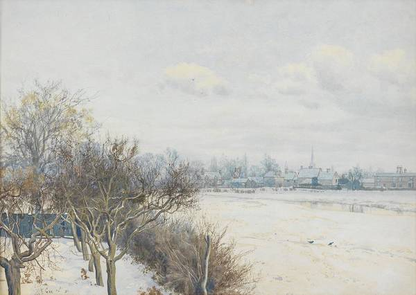 Trees Print featuring the painting Winter In The Ouse Valley by William Fraser Garden