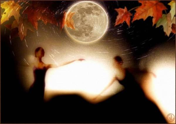Landscape Print featuring the digital art Autumn Moon Dance by Gun Legler