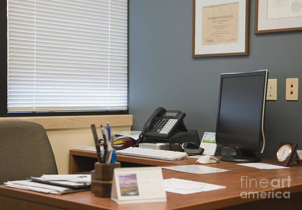 Blinds Print featuring the photograph Computer Monitor And Office Space by Andersen Ross