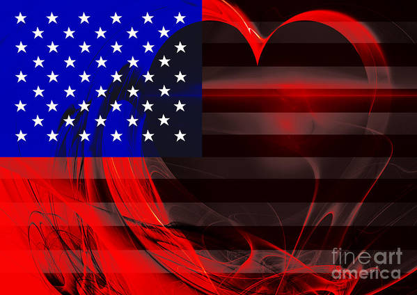 Usa Print featuring the photograph I Love America by Wingsdomain Art and Photography