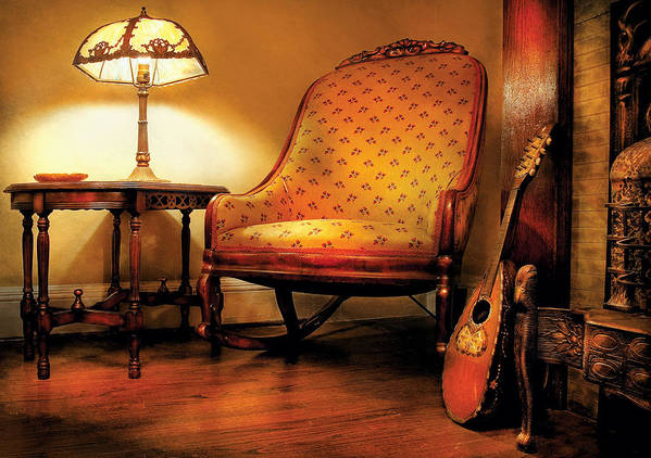 Savad Print featuring the photograph Music - String - The Chair And The Lute by Mike Savad