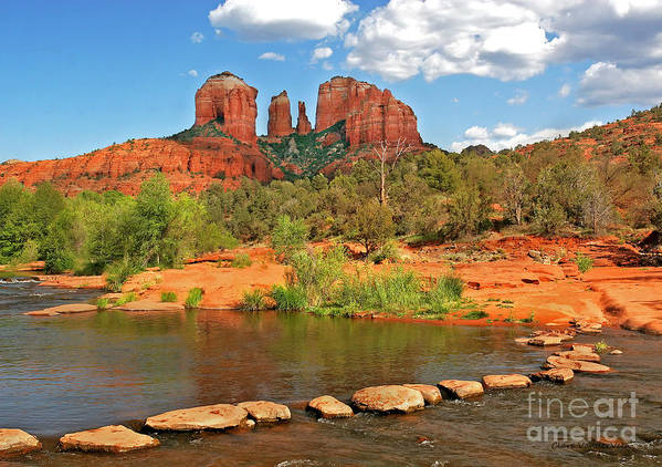 Red Rock Crossing Print featuring the photograph Red Rock Crossing by Clare VanderVeen