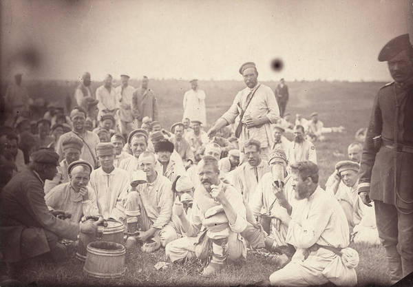 1880s Print featuring the photograph Siberia, Siberian Convicts Taking Lunch by Everett
