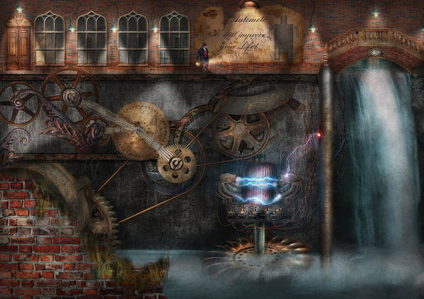 Hdr Print featuring the photograph Steampunk - Industrial Society by Mike Savad