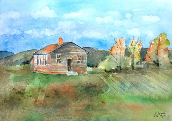 Schoolhouse Print featuring the painting The Vacant Schoolhouse by Arline Wagner