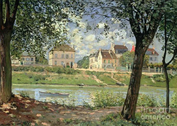Villeneuve La Garenne; Impressionist; River; House; French Landscape; France; Paysage; Riviere; Maison; Impressionism Print featuring the painting Villeneuve La Garenne by Alfred Sisley