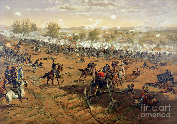 Battle Of Gettysburg Print featuring the painting Battle Of Gettysburg by Thure de Thulstrup