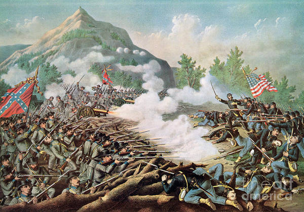 Battle Of Kenesaw Mountain Print featuring the painting Battle Of Kenesaw Mountain Georgia 27th June 1864 by American School