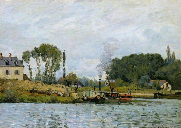 Boats At The Lock At Bougival Print featuring the painting Boats At The Lock At Bougival by Alfred Sisley