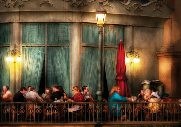 Savad Print featuring the photograph City - Vegas - Paris - The Outdoor Cafe by Mike Savad