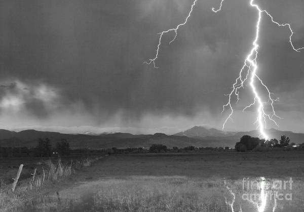 Lightning Print featuring the photograph Lightning Striking Longs Peak Foothills 5bw by James BO Insogna