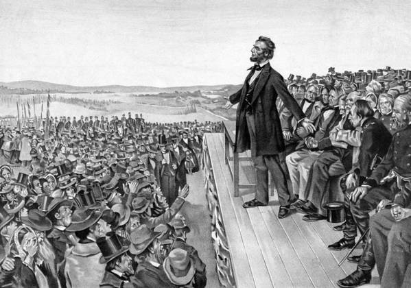 Gettysburg Address Print featuring the drawing Lincoln Delivering The Gettysburg Address by War Is Hell Store