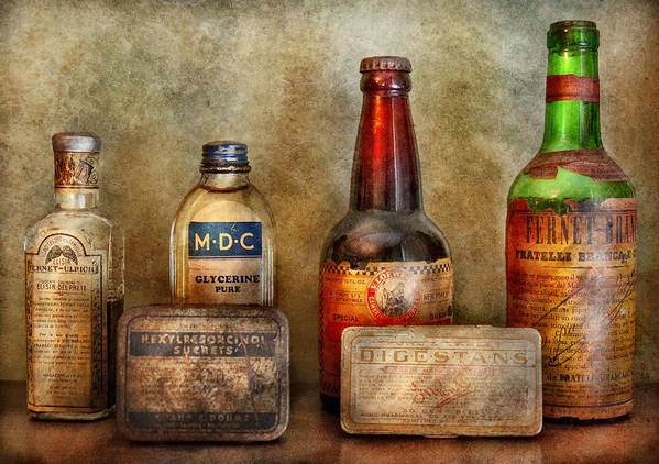 Hdr Print featuring the photograph Pharmacist - On A Pharmacists Counter by Mike Savad