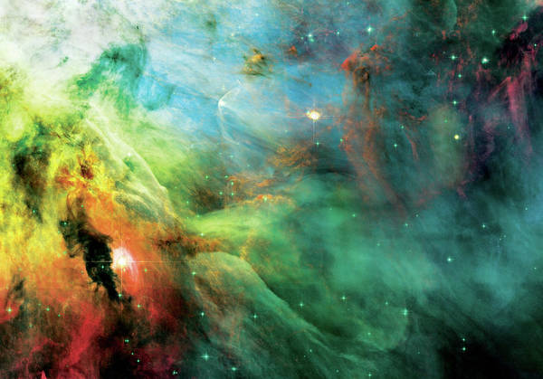 Nebula Print featuring the photograph Rainbow Orion Nebula by The Vault - Jennifer Rondinelli Reilly