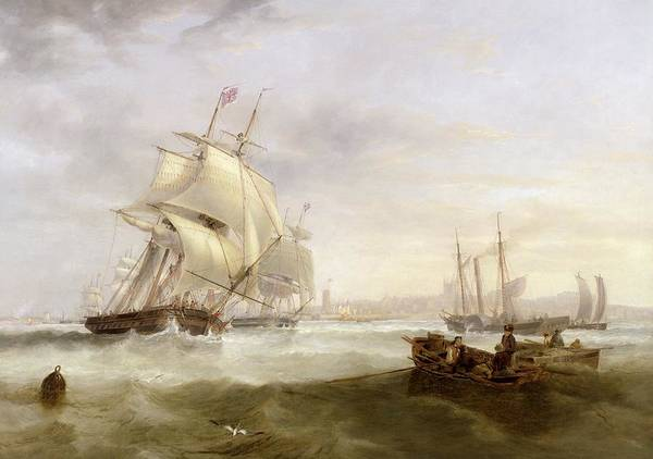 Shipping Off Hartlepool (oil On Canvas) By John Wilson Carmichael (1800-68) Print featuring the painting Shipping Off Hartlepool by John Wilson Carmichael