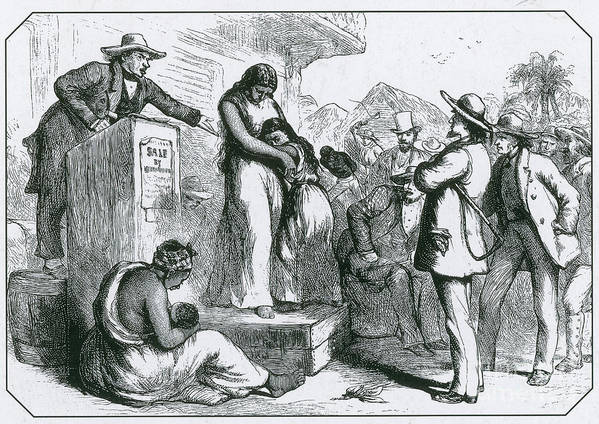History Print featuring the photograph Slave Auction by Photo Researchers