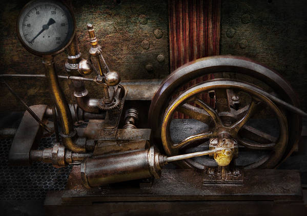 Hdr Print featuring the photograph Steampunk - The Contraption by Mike Savad