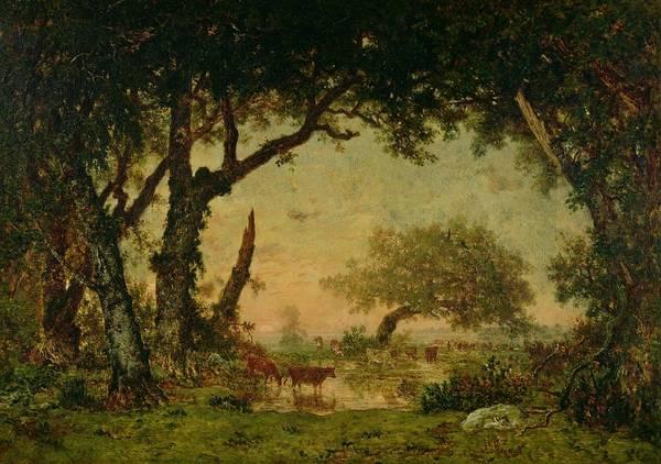 The Print featuring the painting The Edge Of The Forest At Fontainebleau by Theodore Rousseau