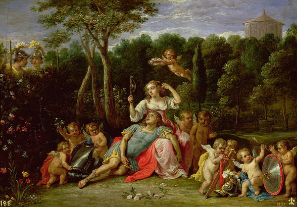 The Print featuring the painting The Garden Of Armida by David the younger Teniers